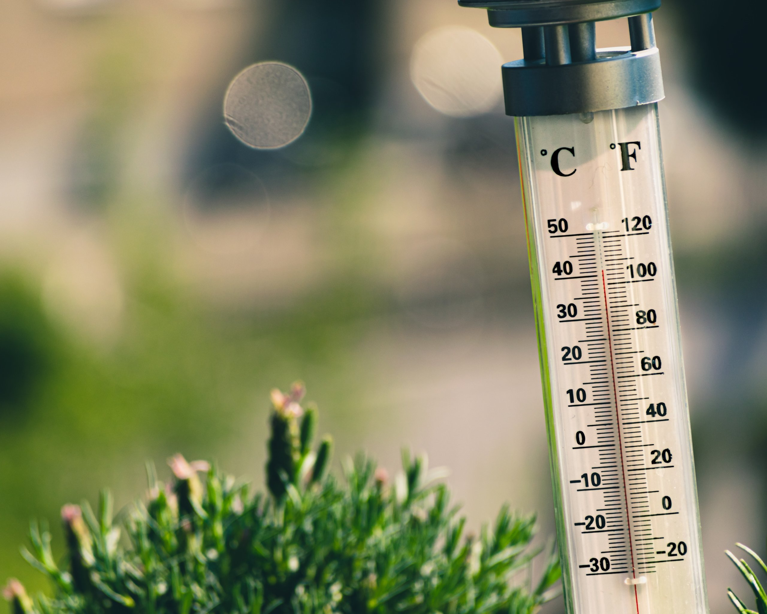 rising temperature on a thermometer